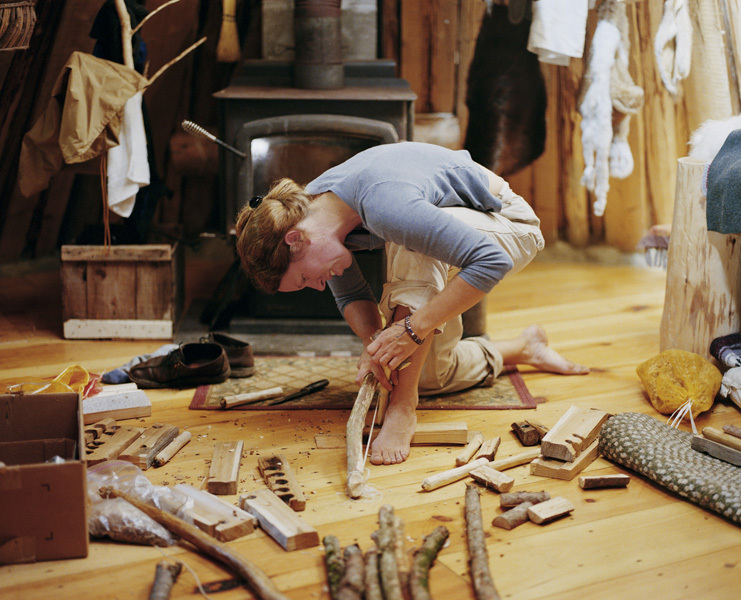 Jenn Making Bow-Drills, Canaan, Maine