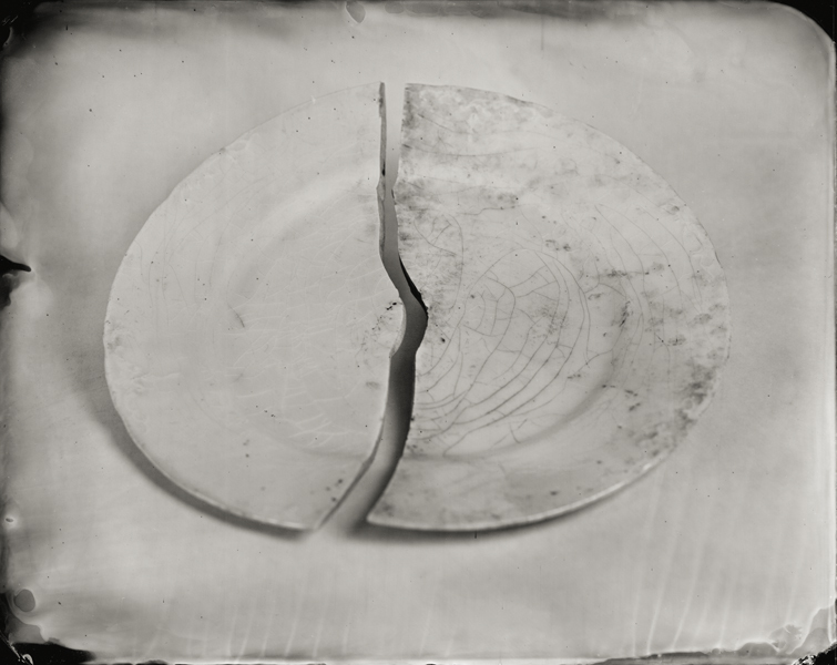 """Broken Plate."" From Objects of Uncertain Provenance: Found in Winslow Homer's Studio. 8x10"" tintype. 2012."