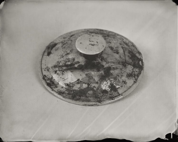 """Lid with Landscape."" From Objects of Uncertain Provenance: Found in Winslow Homer's Studio. 8x10"" tintype. 2012."