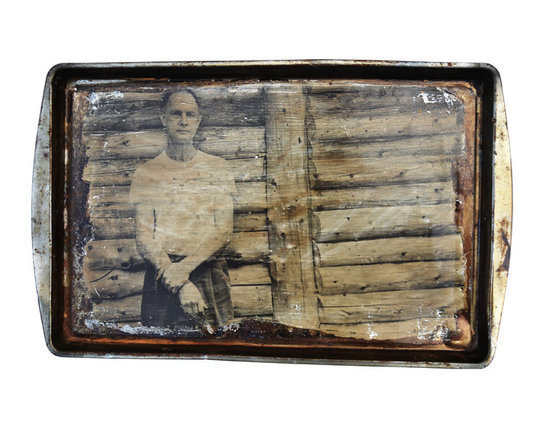 """Tom"" from the Baking Pan Series, 2000, Liquid Silver Emulsion on Metal"