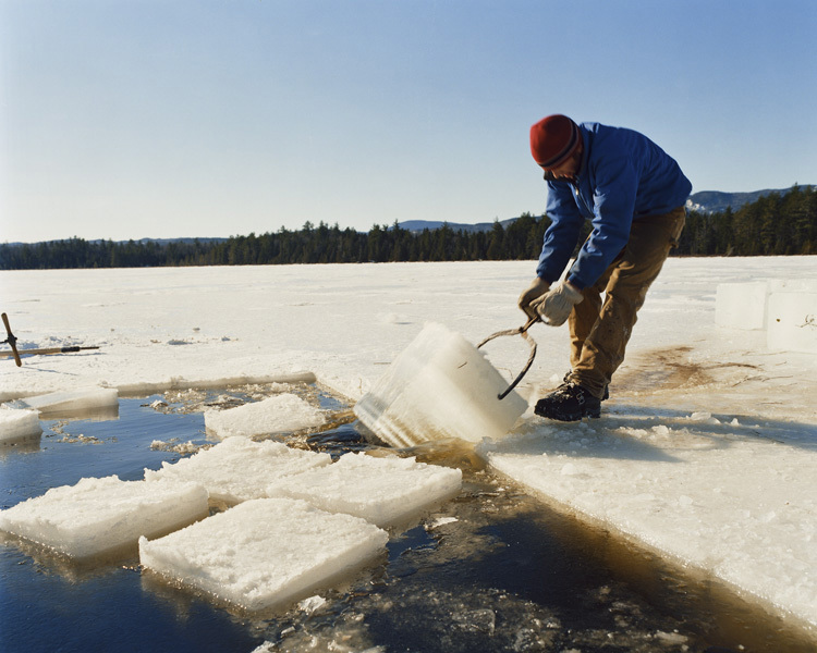 Yule Pulling Ice, Whipple Pond, Maine