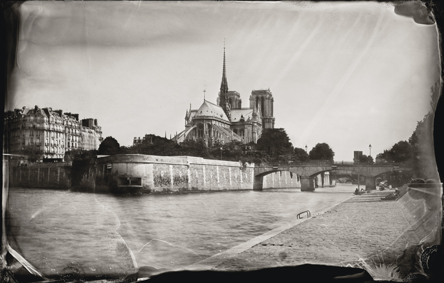 "Notre Dame and the Seine River, Paris, 2011,  5x7"" tintype"