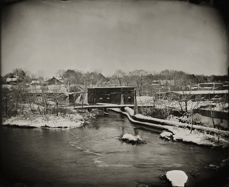 "River and Dam, Maine, 2009, 8x10"" tintype"
