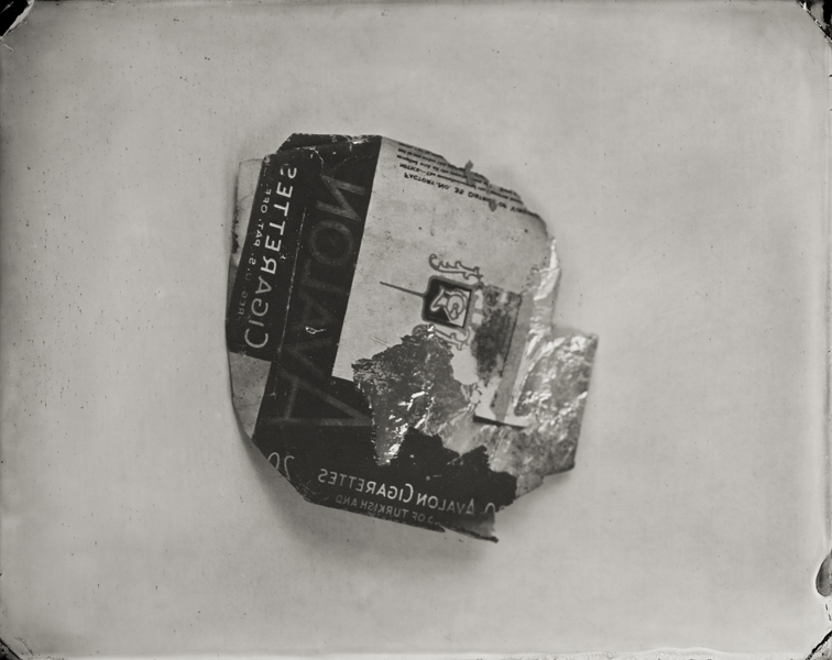 """Avalon Cigarette Pack."" From Objects of Uncertain Provenance: Found in Winslow Homer's Studio. 8x10"" tintype. 2012."