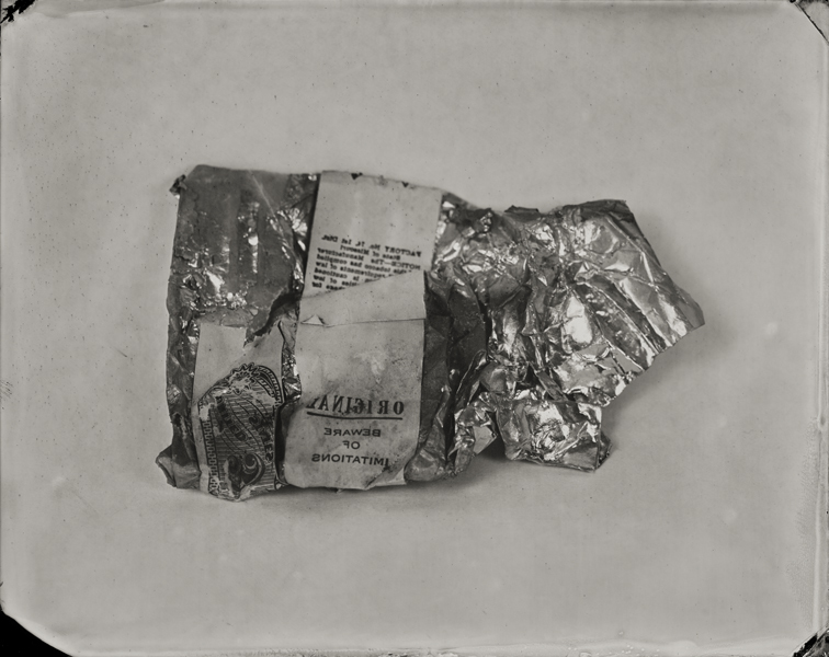 """Cigarette Pack."" From Objects of Uncertain Provenance: Found in Winslow Homer's Studio. 8x10"" tintype. 2012."