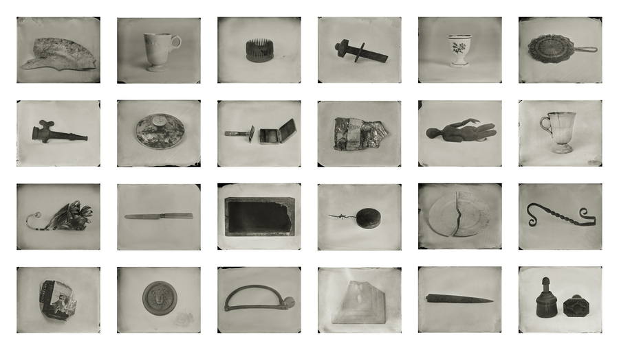 """Objects of Uncertain Provenance."" Twenty-four 8x10"" wet plate collodion tintypes. 2012. Installation view."